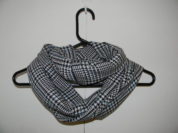 Black White Grey and Blue Houndstooth by BirdcageTreasures on Etsy, $15.00