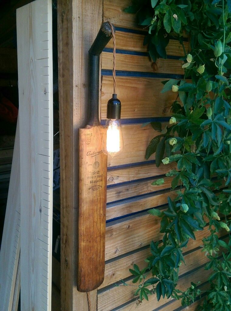 Cricket Bat Wall Light Www Mancavecreations Co Uk Thediydoers