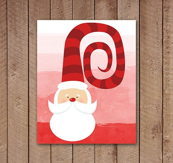 Santa Printable, Red Watercolor Christmas Print, Whimsical, Funny Santa Clause, Home Decor, Instant Download
