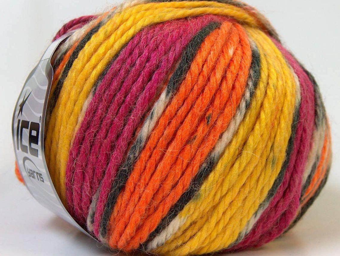 Lot of 4 x 100gr Skeins ICE ALPACA BULKY MAGIC (25% Alpaca 35% Wool) Yarn Orange - Yarn