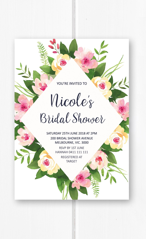 Bridal shower invitation printable, floral bridal shower invites ...