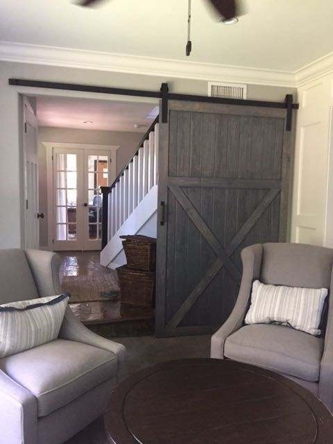 Modern Gray Farmhouse Style Barn Door With X Bracing By