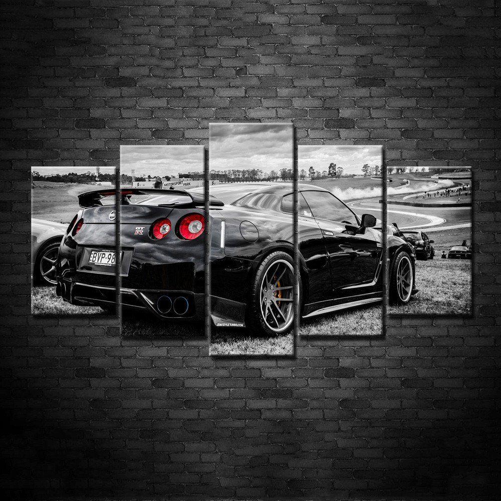 Modern Art Abstract Original Art Indoor Decor Super Sport Car Series Nissan  GTR Print Poster Canvas In 5 Pieces