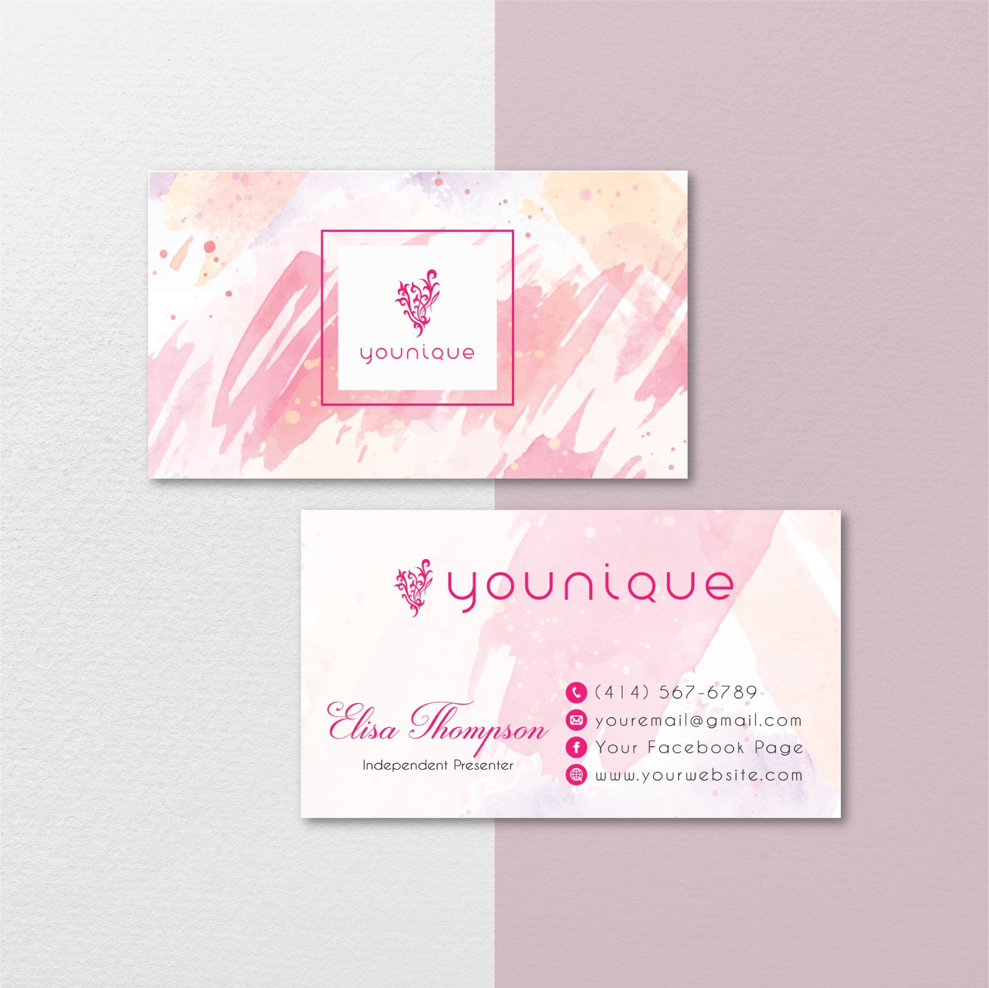 Watercolor Younique Business Card Personalized Younique Business Card Yq16 In 2021 Younique Business Cards Younique Business Custom Business Cards