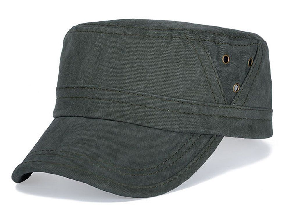 e7f402f17e7 ChezAbbey Cotton Solid Brim Flat Top Cap Cadet Classical Style Military Hat  Peaked Cap.