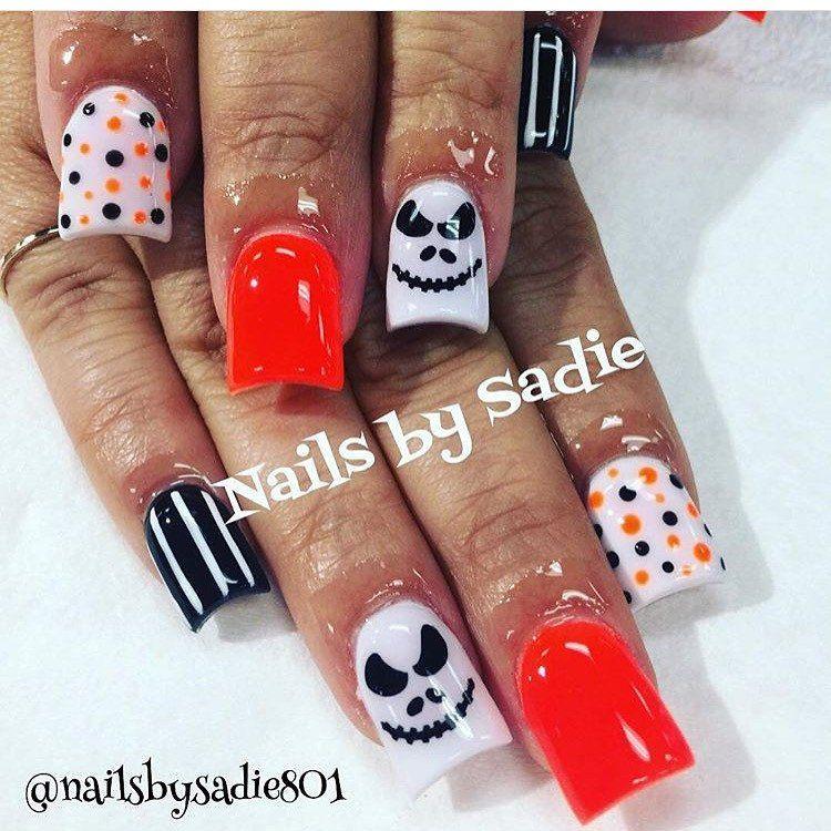 Halloween Nails | Halloween Nail Art | Jack Skellington Nails ...
