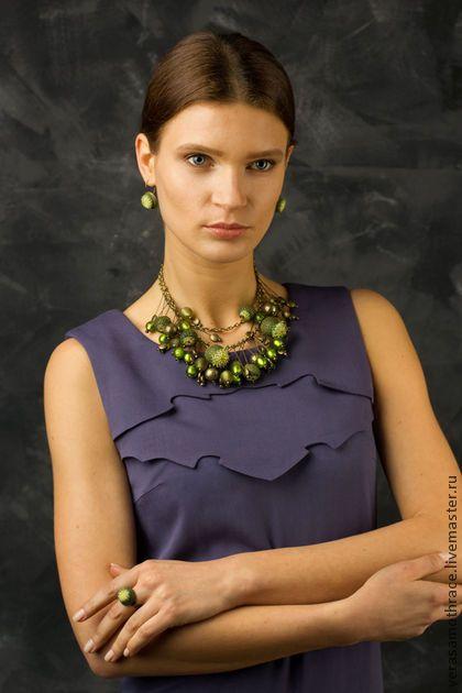 Victoria Kalenik Apple thistle polymer clay necklace