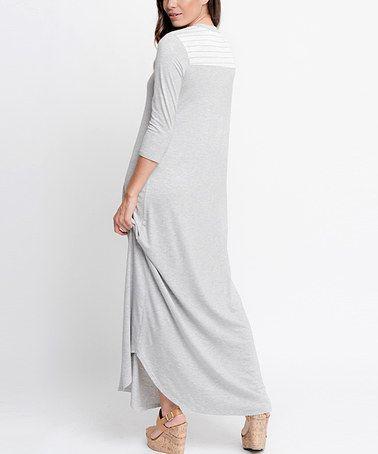 Another great find on #zulily! Heather Gray Stripe-Detail Maxi Dress #zulilyfinds