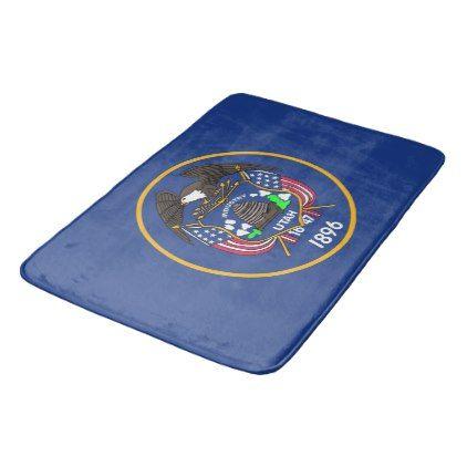 Large Bath Mat With Flag Of Utah USA Large Bath Mats Utah Usa - Turquoise bath rug set for bathroom decorating ideas