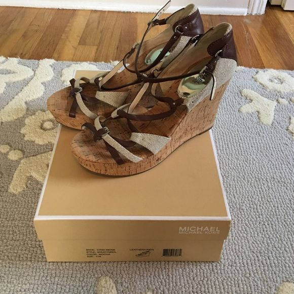 "Michael Kors Cyndi Wedge Strappy Sandal Size 11 Lightly Worn ( Only about 2 times) Michael Kors Cyndi Wedge Sandals . Size 11.    1"" Platform 4.5 "" heel! MICHAEL Michael Kors Shoes Wedges"