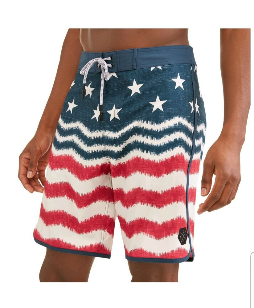 George Men S Patriotic American Flag Swim Trunks Bathing Suit Board Shorts Sz 32 Fashion Clothing Shoes Accessories Mens Swimwear Board Shorts Swim Trunks