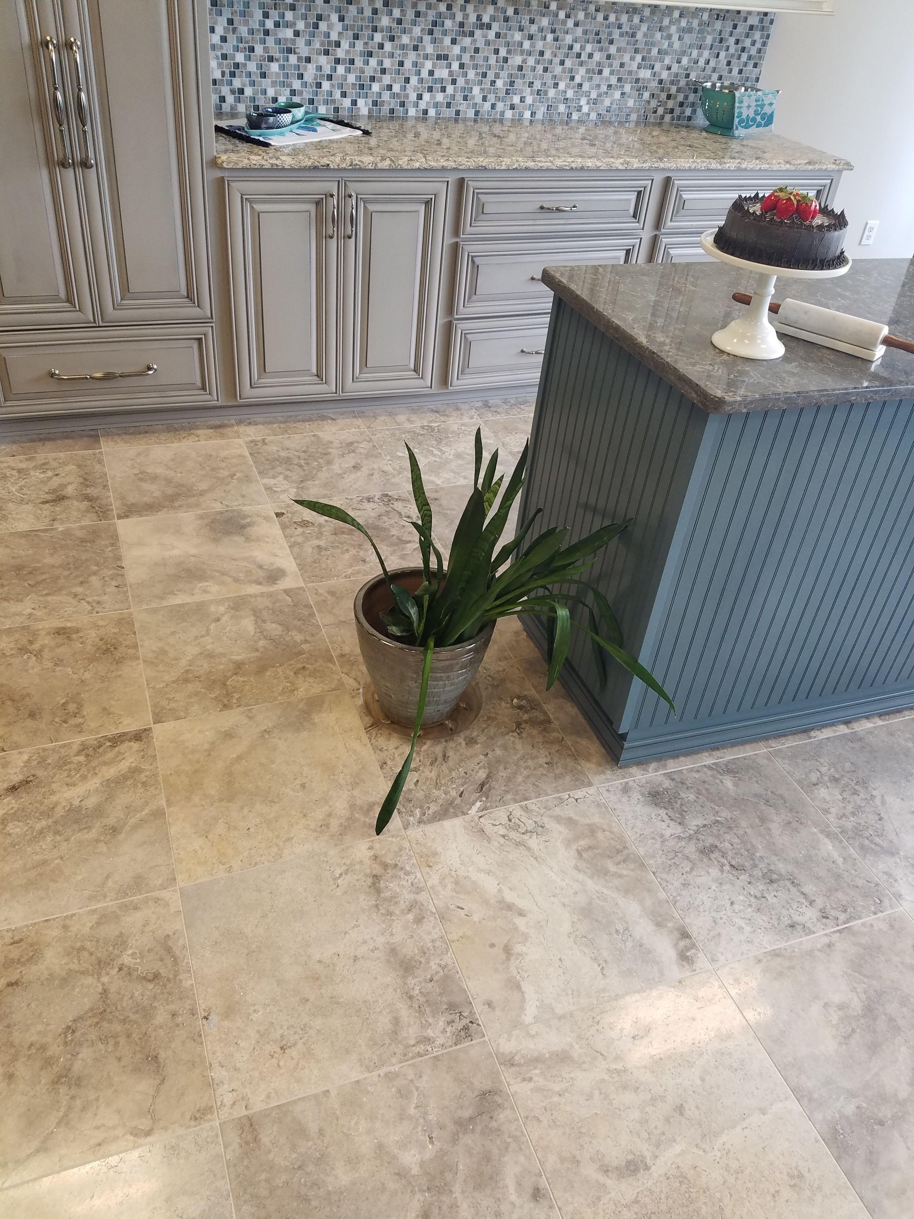 Silver 18x18 High Honed Travertine Tile Kitchen Flooring Remodel Kitchen Floor Tile Backsplash With Dark Cabinets Trendy Kitchen Tile
