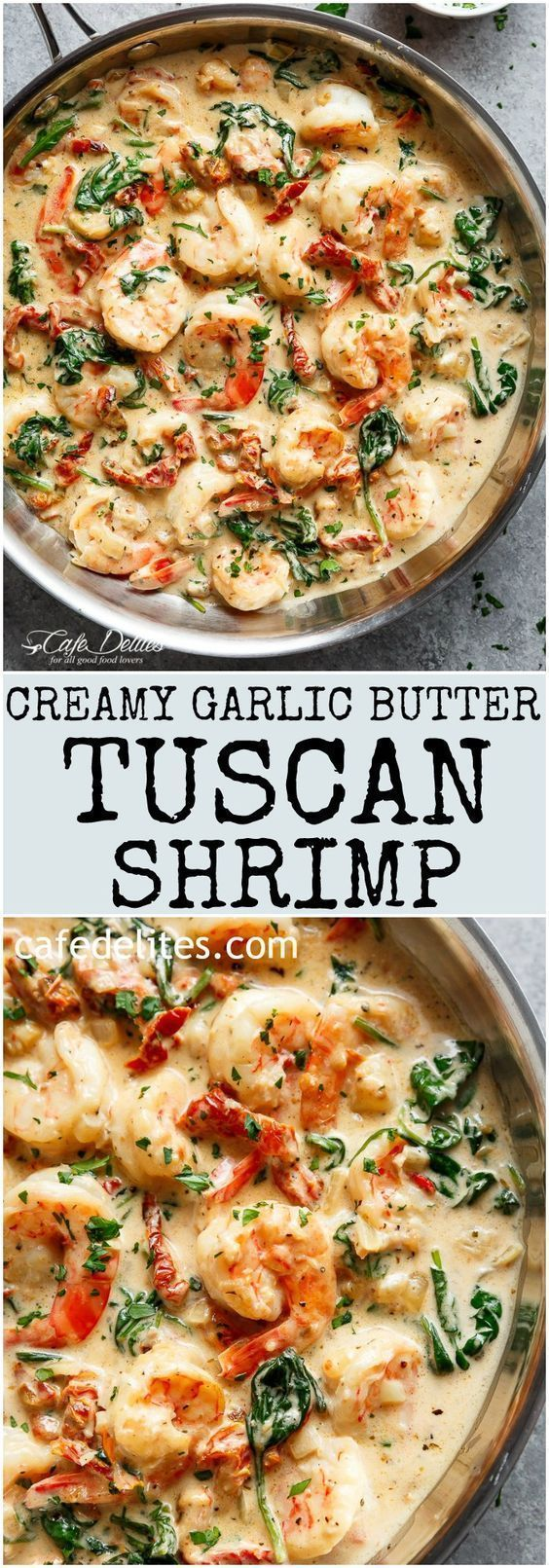 Creamy Garlic Butter Tuscan Shrimp coated in a light and creamy sauce filled with garlic, sun dried tomatoes and spinach! Packed with incredible flavours! #shrimprecipes
