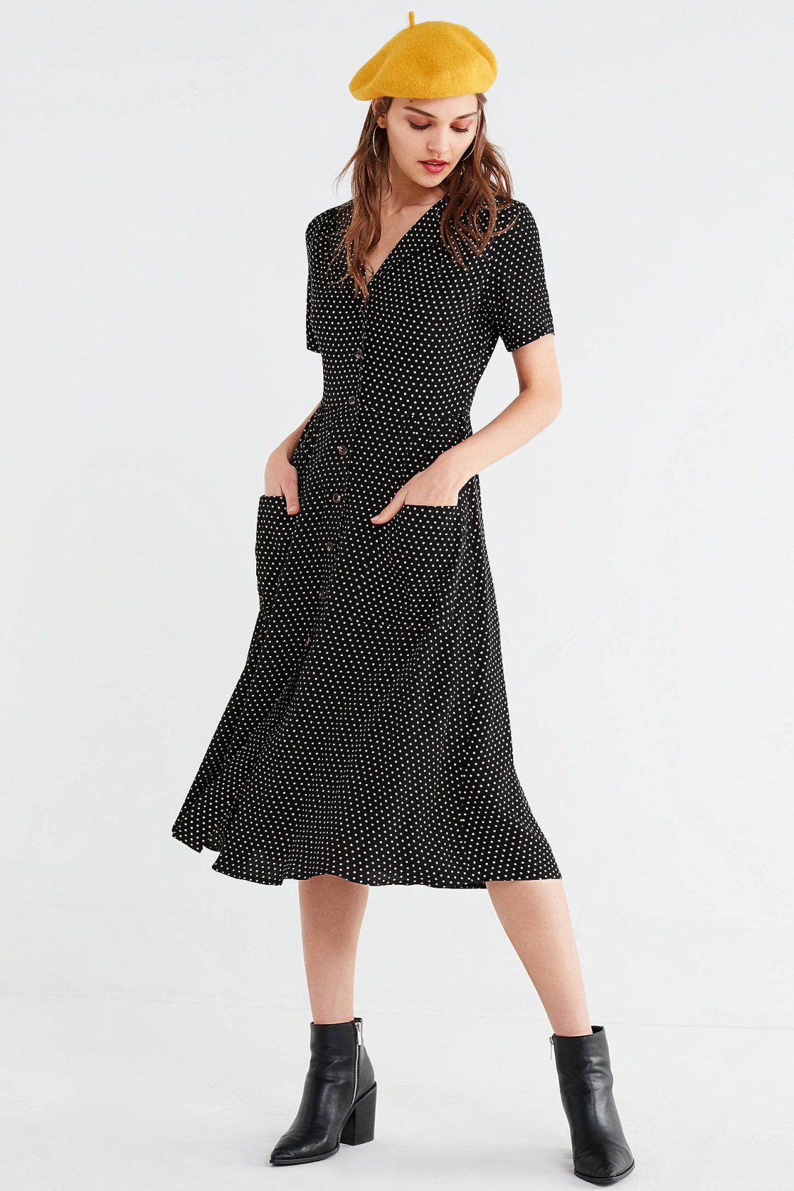 f8f3ffef9f UO Button-Down Midi Shirt Dress in 2019
