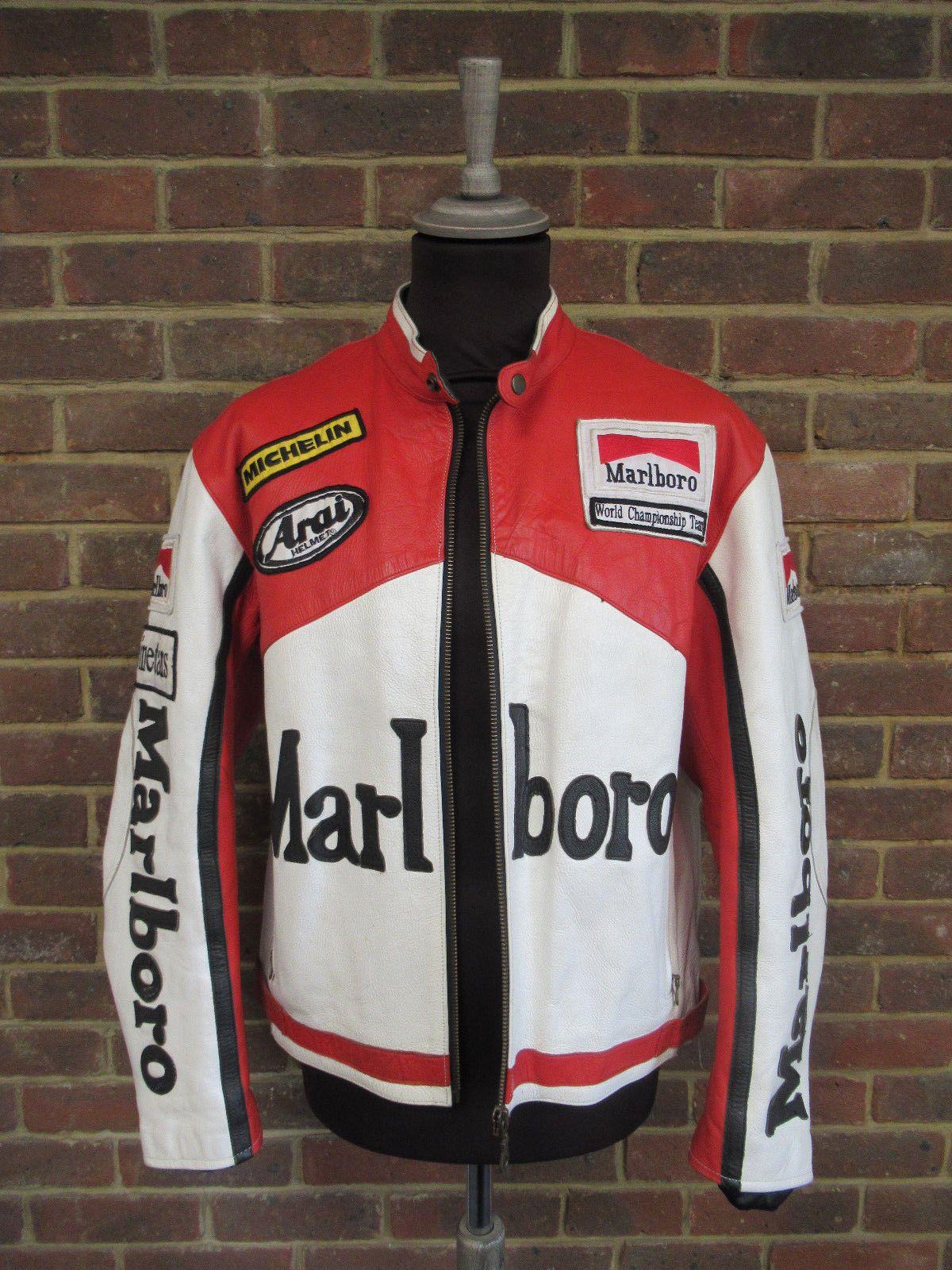 Men's Marlboro Leather Motorcycle Racing Jacket Size UK