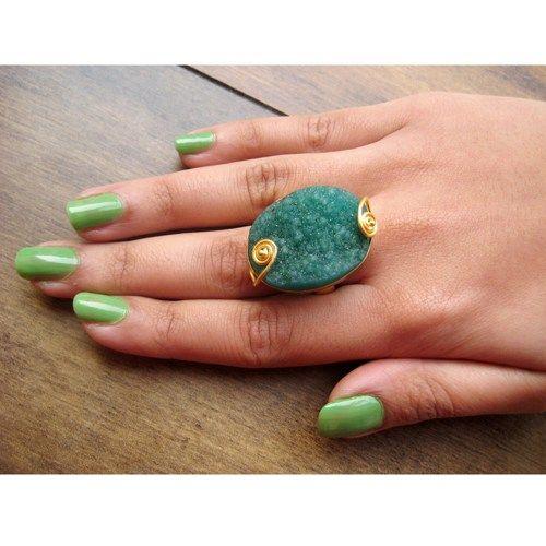 Emerald Green Druzy Ring, Cocktail Ring, Statement Ring, Stacking Ring, Adjustable Ring, Gold Ring, Gemstone Ring, Stone Ring, Novelty Ring