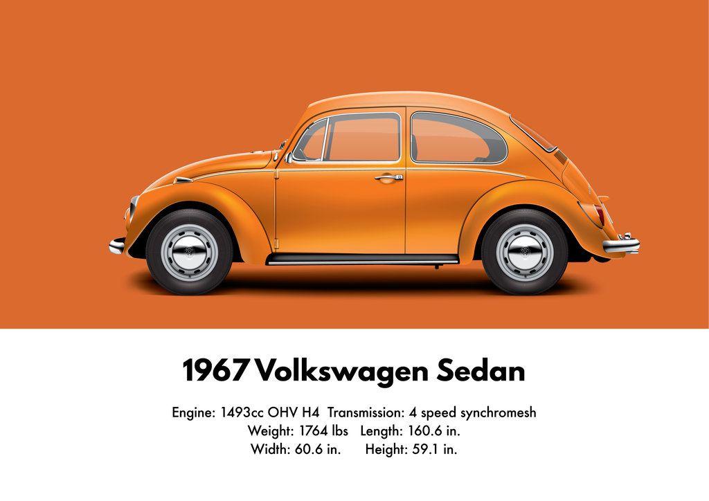 1967 vw sedan - sunset orange - customartbyedo | volkswagen