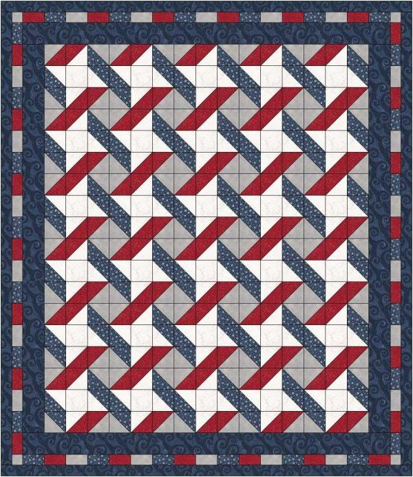 QUILT PATTERN - Stars & Stripes by Laura's Quilt Lakeside Start w ... : chevron stripe quilt pattern - Adamdwight.com