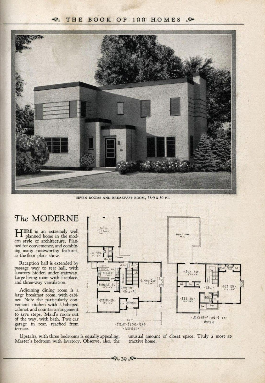 Art deco house plans art deco resource blue prints Plans houses with photos