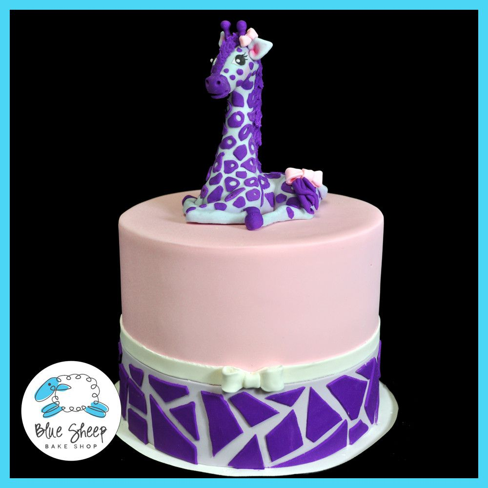 Olivias Purple Giraffe Birthday Cake Blue Sheep Bake Shop