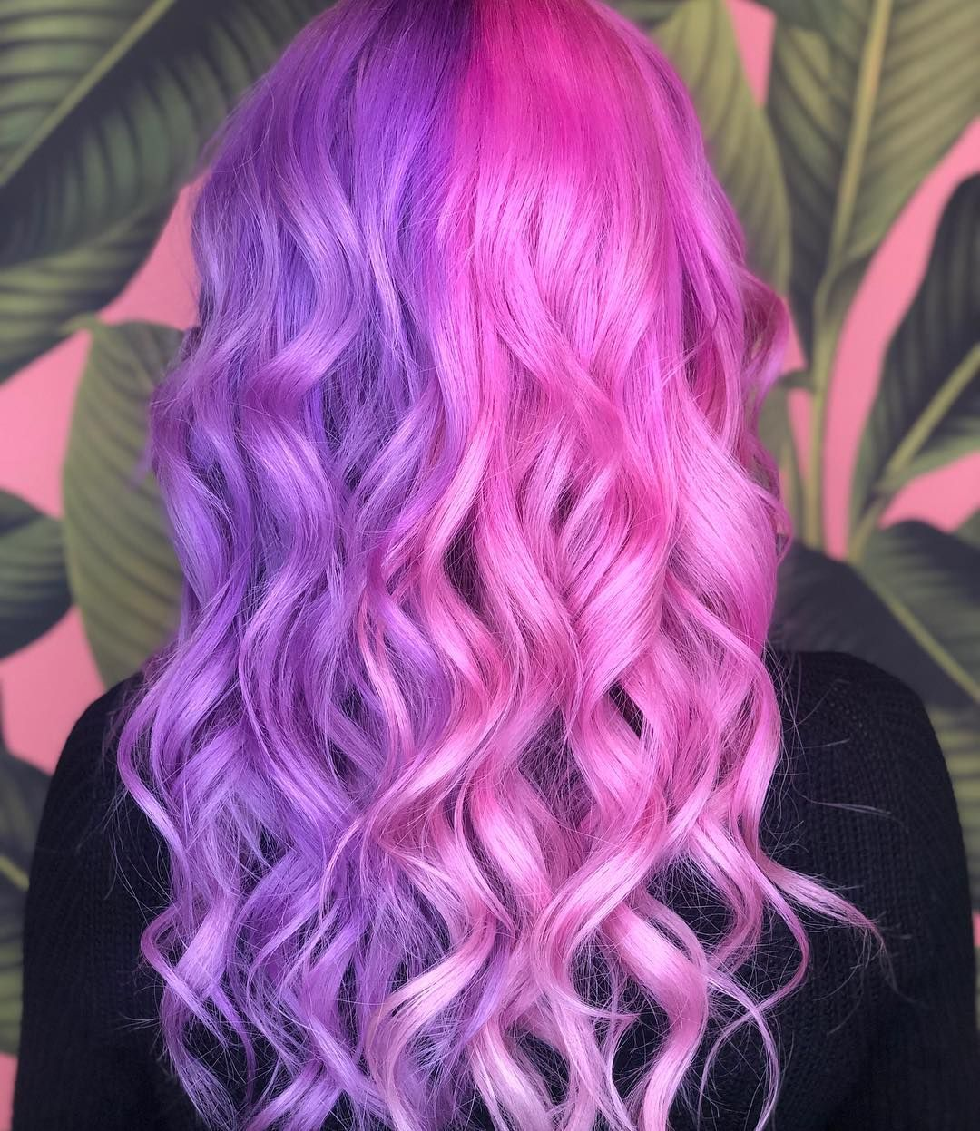 Half And Half Purple And Pink Hair Split Dyed Hair Aesthetic Hair Hair Color Pink