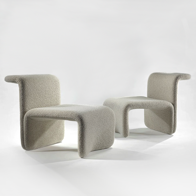 MICHEL BOYER Pair Of Chairs, C. 1968 Foam, Fabric 28.35 X 26.38 X