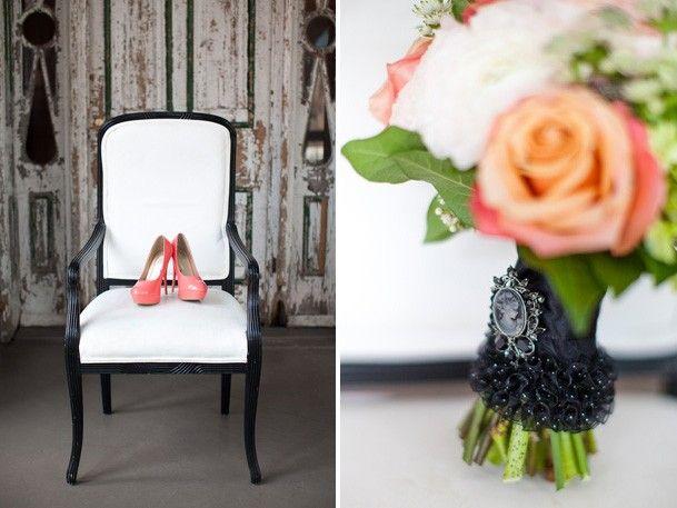 coral orange and green black wedding inspiration
