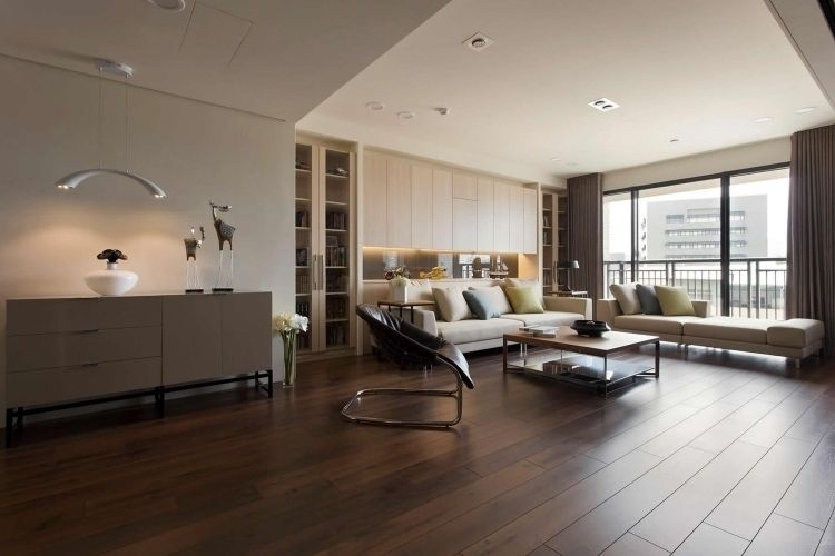Nach Feng Shui Wohnzimmer einrichten -braun-beige-holzboden-sofa ...