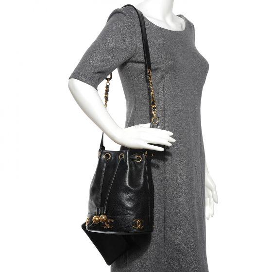 CHANEL Caviar CC Drawstring Shoulder Bag Black   wishlist   Vintage ... aaa6d54da5