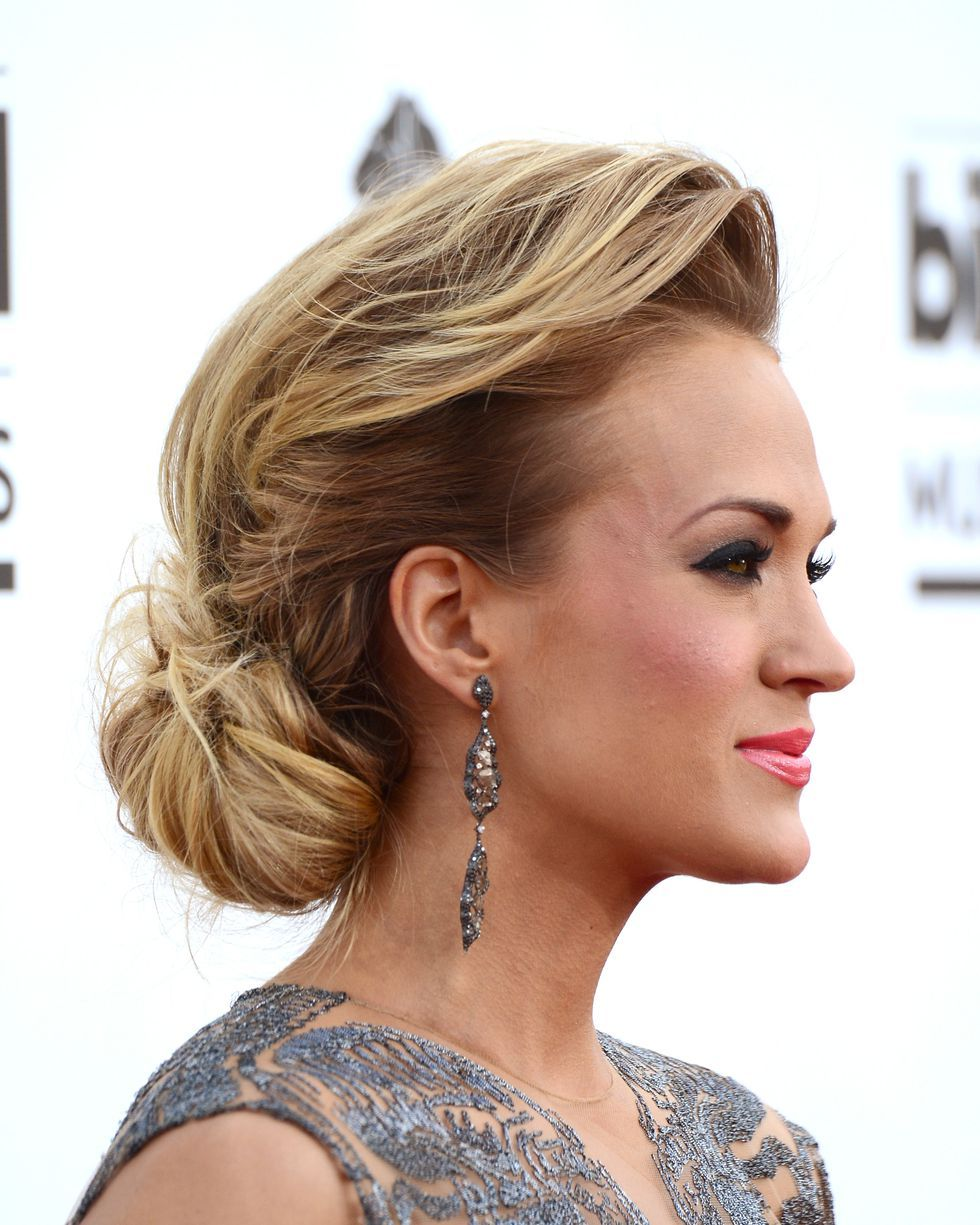 photo Carrie Underwood Loose Bun Updo with Bangs