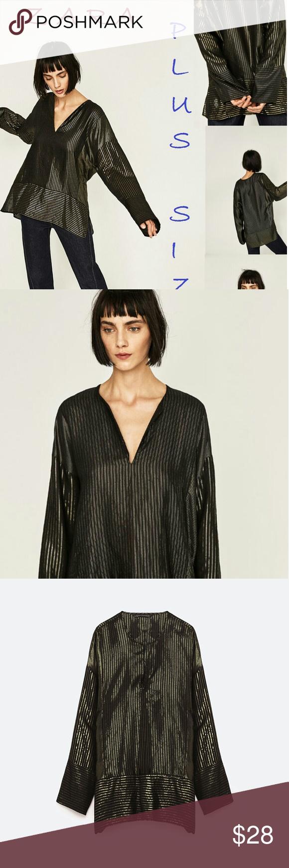 Zara Plus Size Striped Shiny Patchwork Tunic Boutique Patchwork