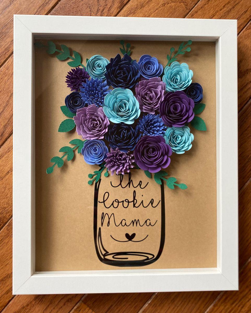 Rolled Flower Mason Jar Shadowbox
