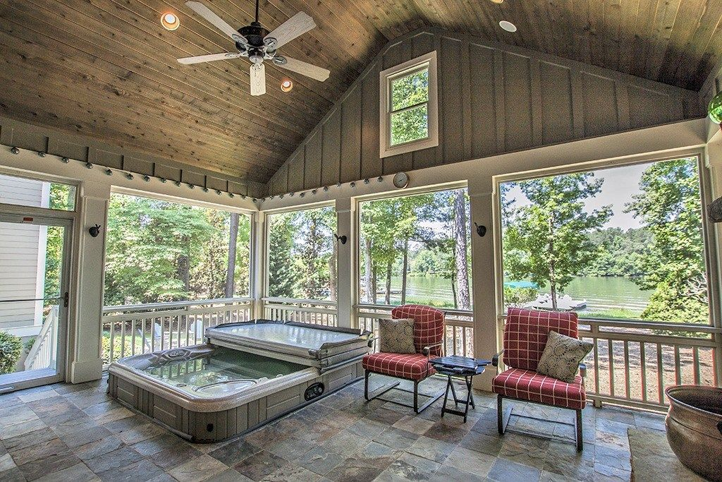 Amazing Screened Porch Overlooking Lake Oconee Vaulted Ceiling Hot Tub Fireplace And Slate Floors Outdoor Fireplace Kits Fireplace Kits House With Porch