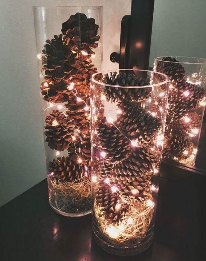 Simple And Inexpensive December Centerpieces Made These For My Wedding Pinecones Spanish Moss Fairy Lights Dollar Vases