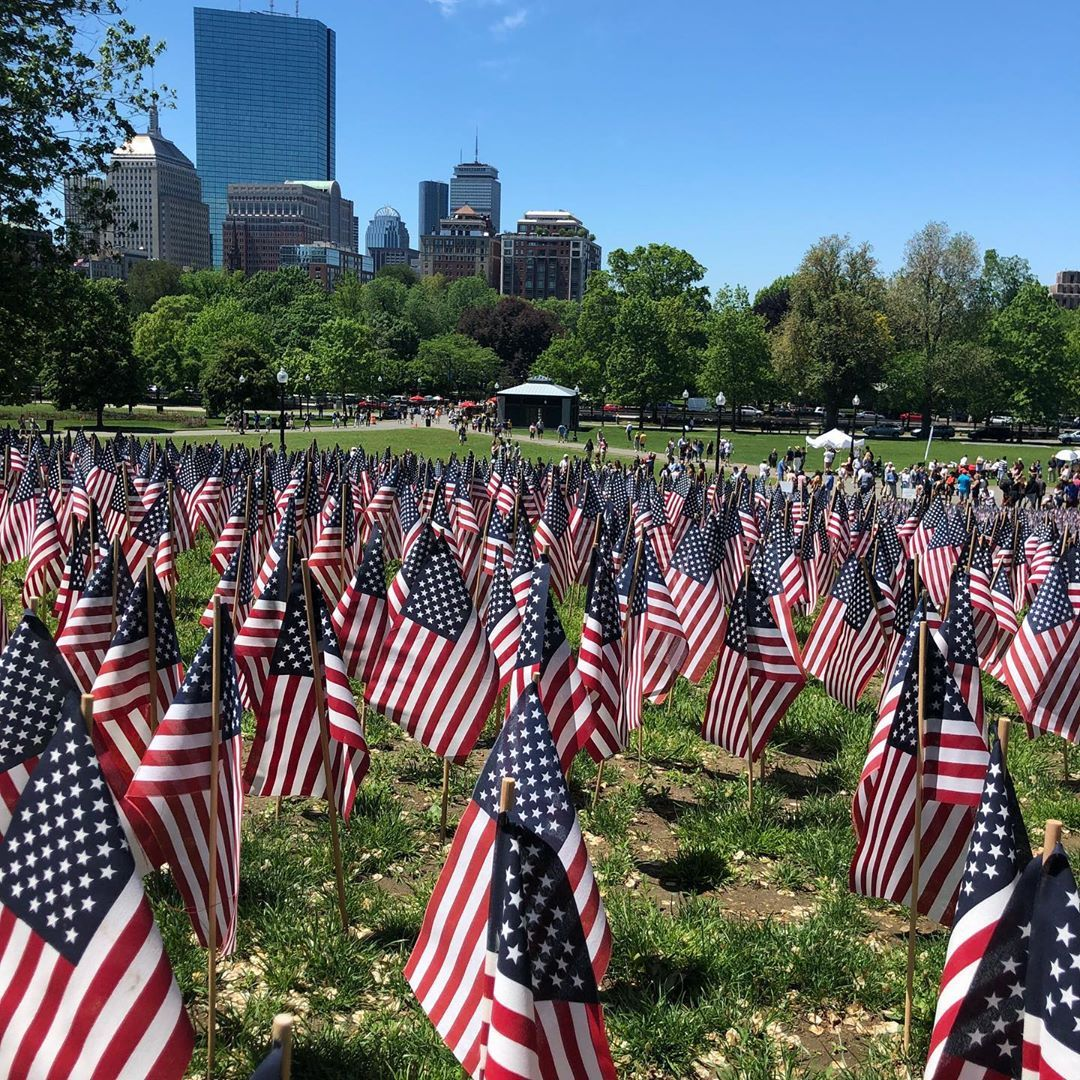 American Flag On Display In Boston Remembering The Martyrs Of Numerous War From The State Of Massachusetts Memor American Flag Martyrs Memorial Day