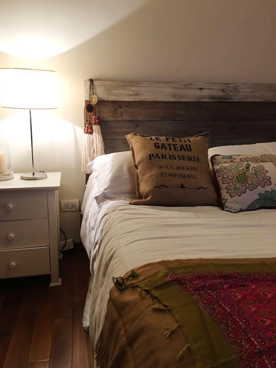 Respaldo en 2 colores antigua madera respaldo de camas - Camas de madera antiguas ...