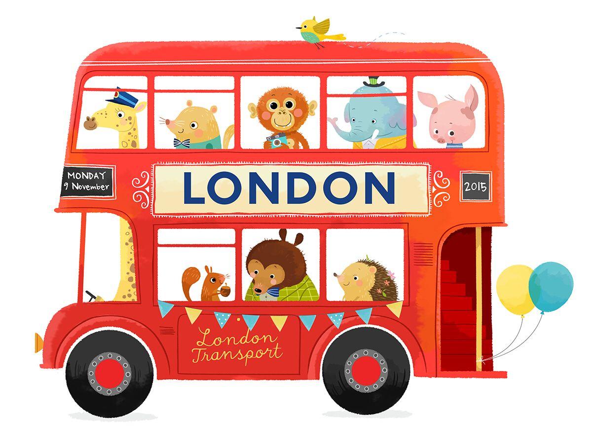 Personalised Nursery Art Print London Bus On Etsy By Fridabandida 数字デザイン かわいいイラスト ロンドンバス