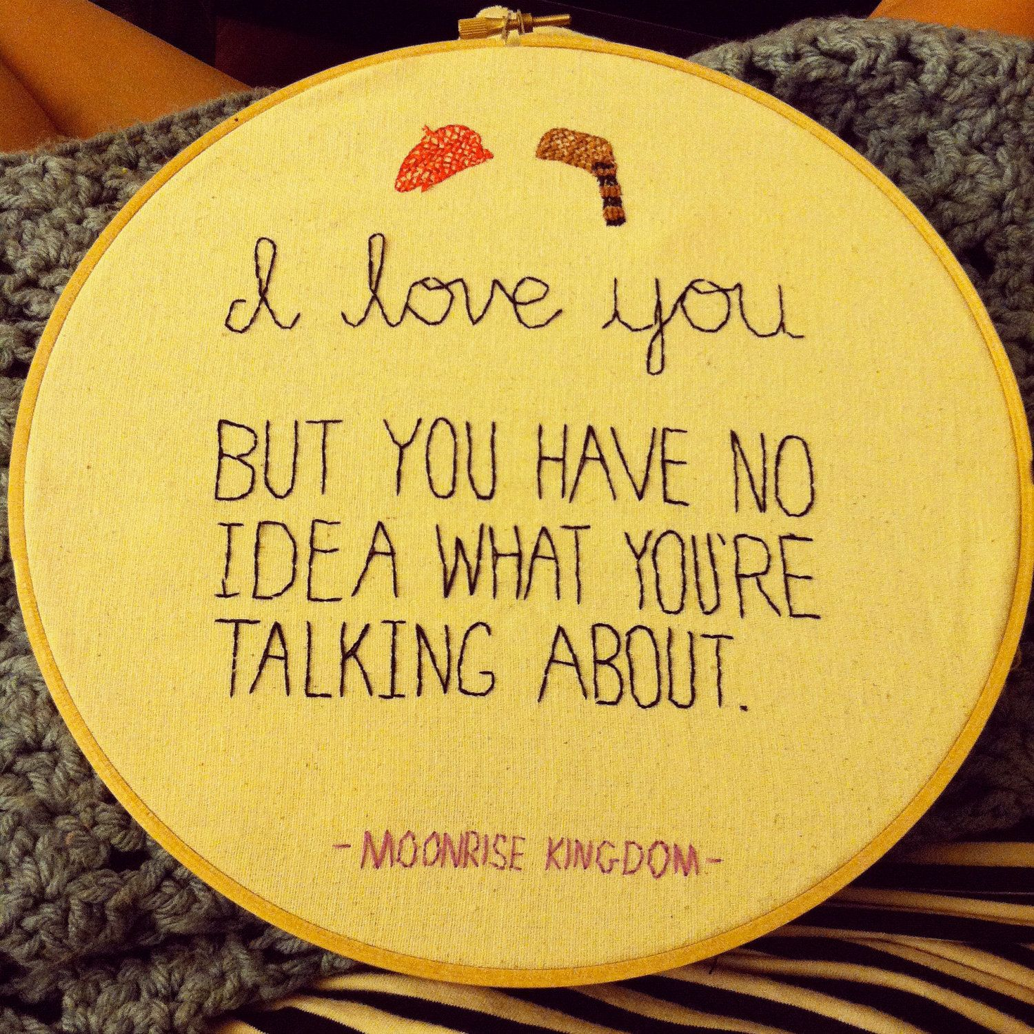 "Moonrise Kingdom ""I Love You"" - Movie Quote Embroidery. $35.00, via Etsy."