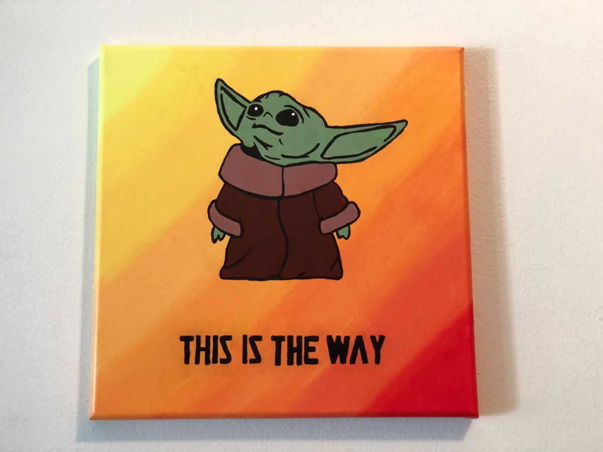 The Child Baby Yoda Mandalorian This Is The Way Hand Painted Wall Art Canvas Ombre Star Wars Acrylic Painting Home Decor Star Wars Canvas Painting Starwars Canvas Painting Disney Canvas Art