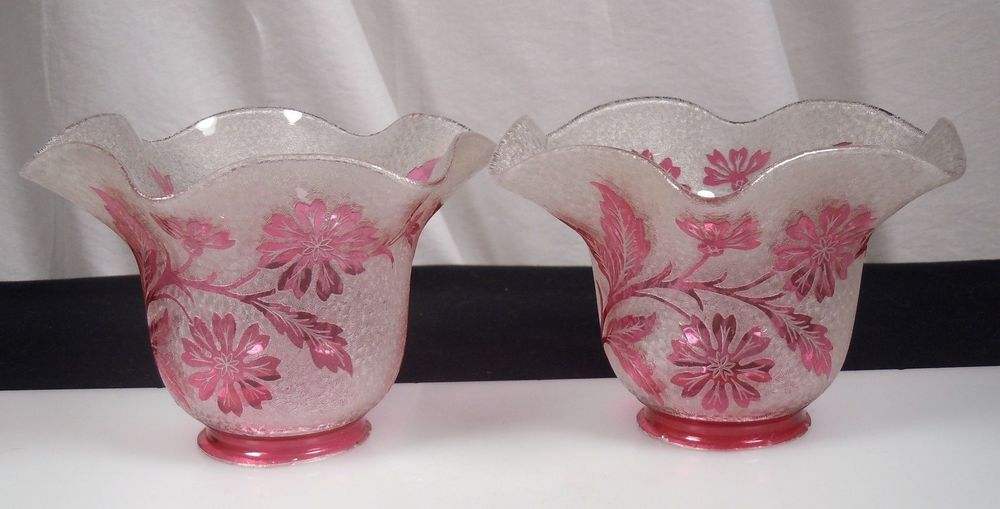 Pair st louis cranberry cameo glass lamp shades signed lamp pair st louis cranberry cameo glass lamp shades signed mozeypictures Choice Image