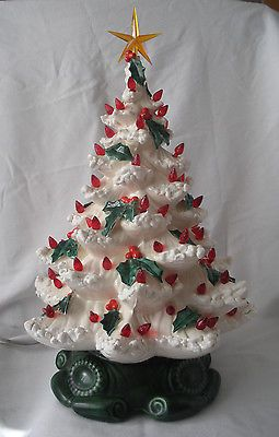 Vintage Ceramic 19 Atlantic Mold White Christmas Tree Red Lights Green Holly Christmas Tree Vintage Ceramic Christmas Tree Rustic Christmas