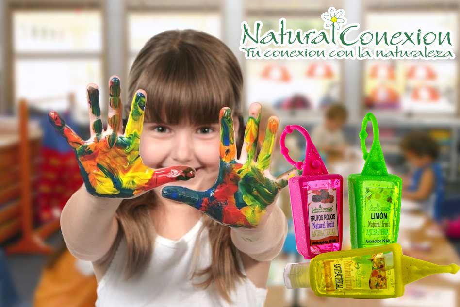 Gel antibacterial con extractos de plantas como el Drago, menta y áloe vera, para que tus hijos esten seguros de usar toda su imaginación. www.naturalconexion.com
