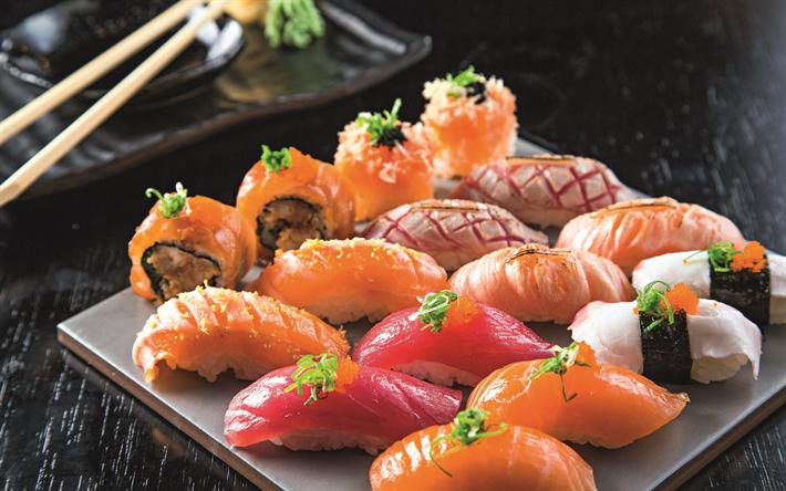 Download wallpapers sushi, nigiri, Japanese food, rolls, salmon, 4k, Japanese dishes besthqwallpapers.com   Food, Sushi, Japanese food