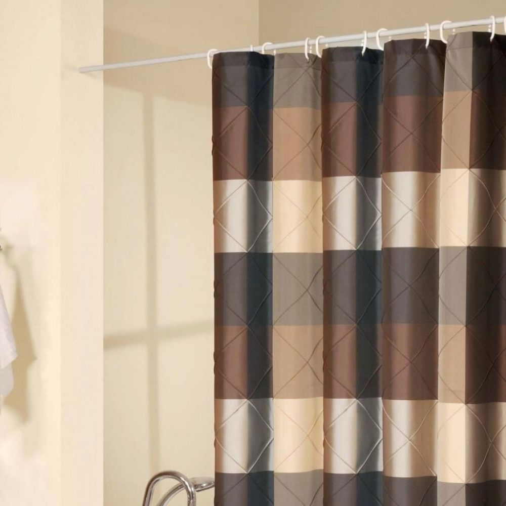 brown and beige striped shower curtain