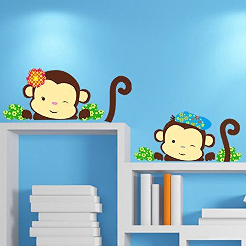 Niedlichen zwei Aff liegen auf dem Tisch Wandsticker Wandaufkleber - wandtattoos f r wohnzimmer