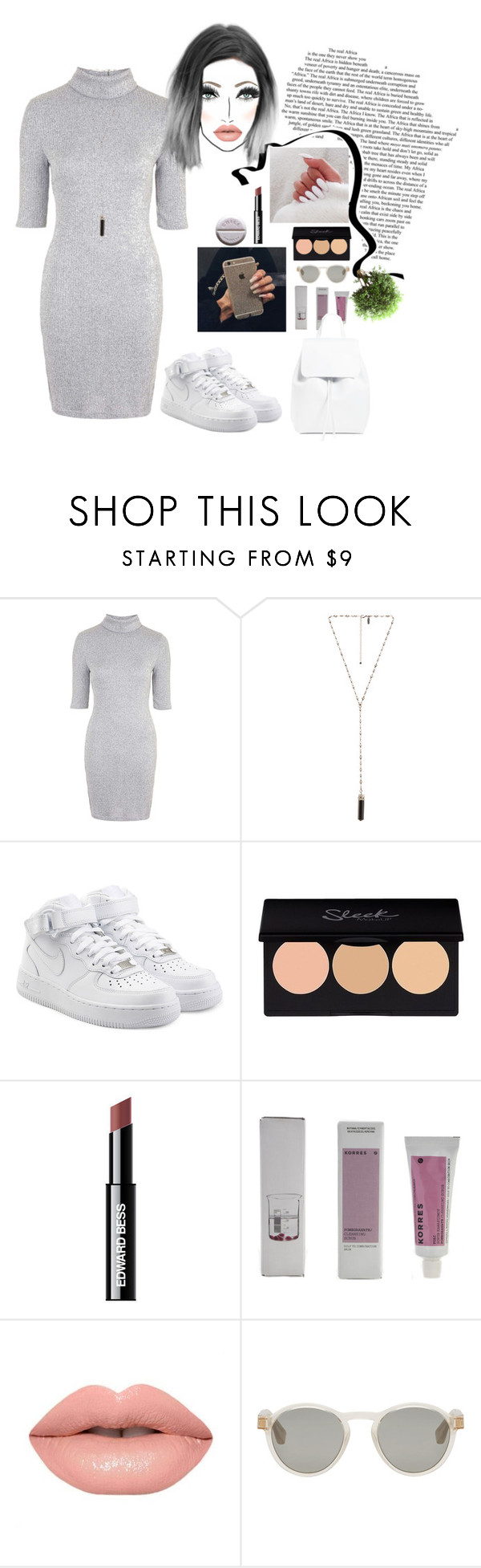 """""""nice"""" by remooooo ❤ liked on Polyvore featuring Topshop, Natalie B, NIKE, Edward Bess, Korres, Maison Margiela and Mansur Gavriel"""
