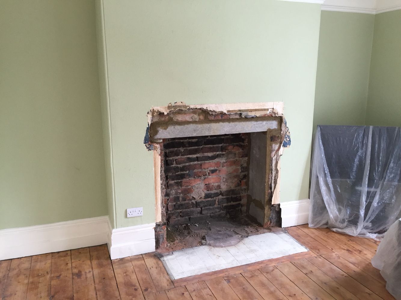sitting room fireplace widening complete new lintel installed