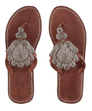 Amy dark brown leather beaded sandals  Sale - Aspiga Sale