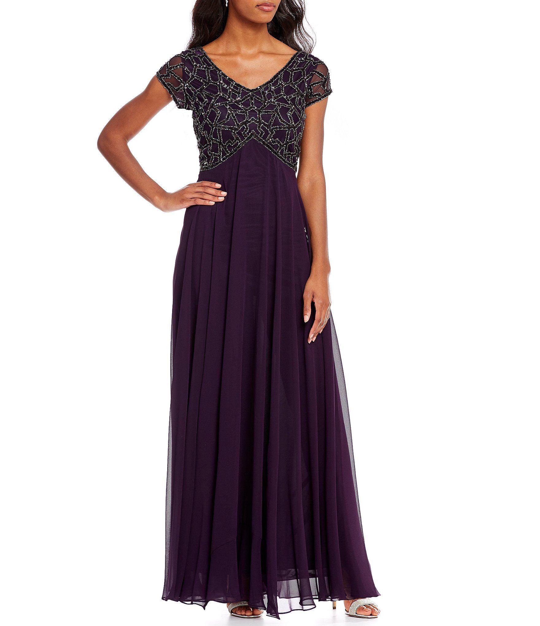Jkara V-Neck Beaded Top Bodice Column Gown #Dillards | wedding 2018 ...