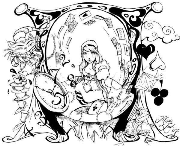 Printable Trippy Alice In Wonderland Coloring Pages Machine Sousouo